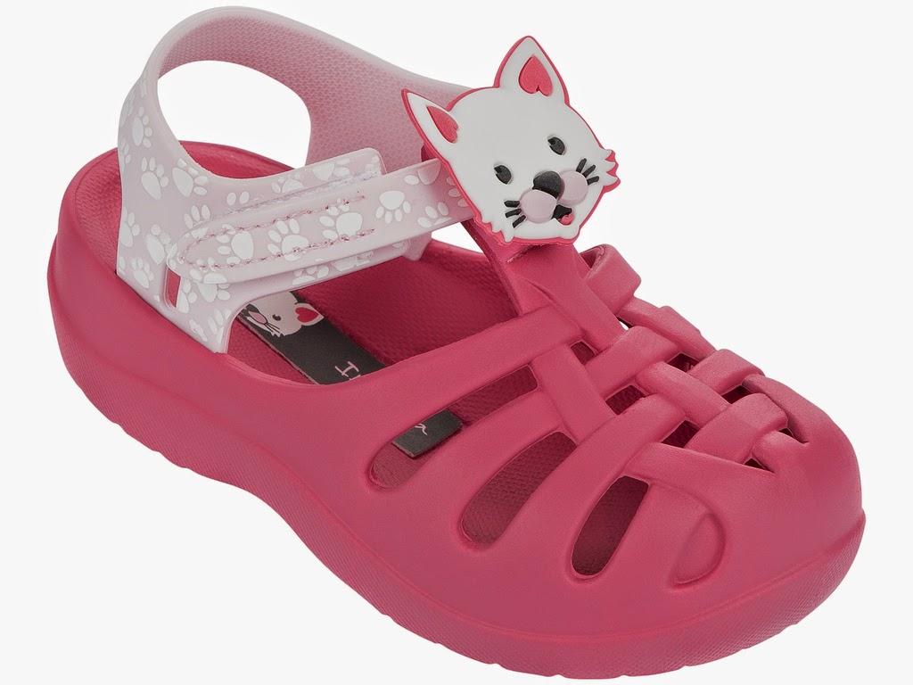 Ipanema Sandalen Summer für Babys und Kinder ohne Zehensteg rosa mit Katzenmotiv