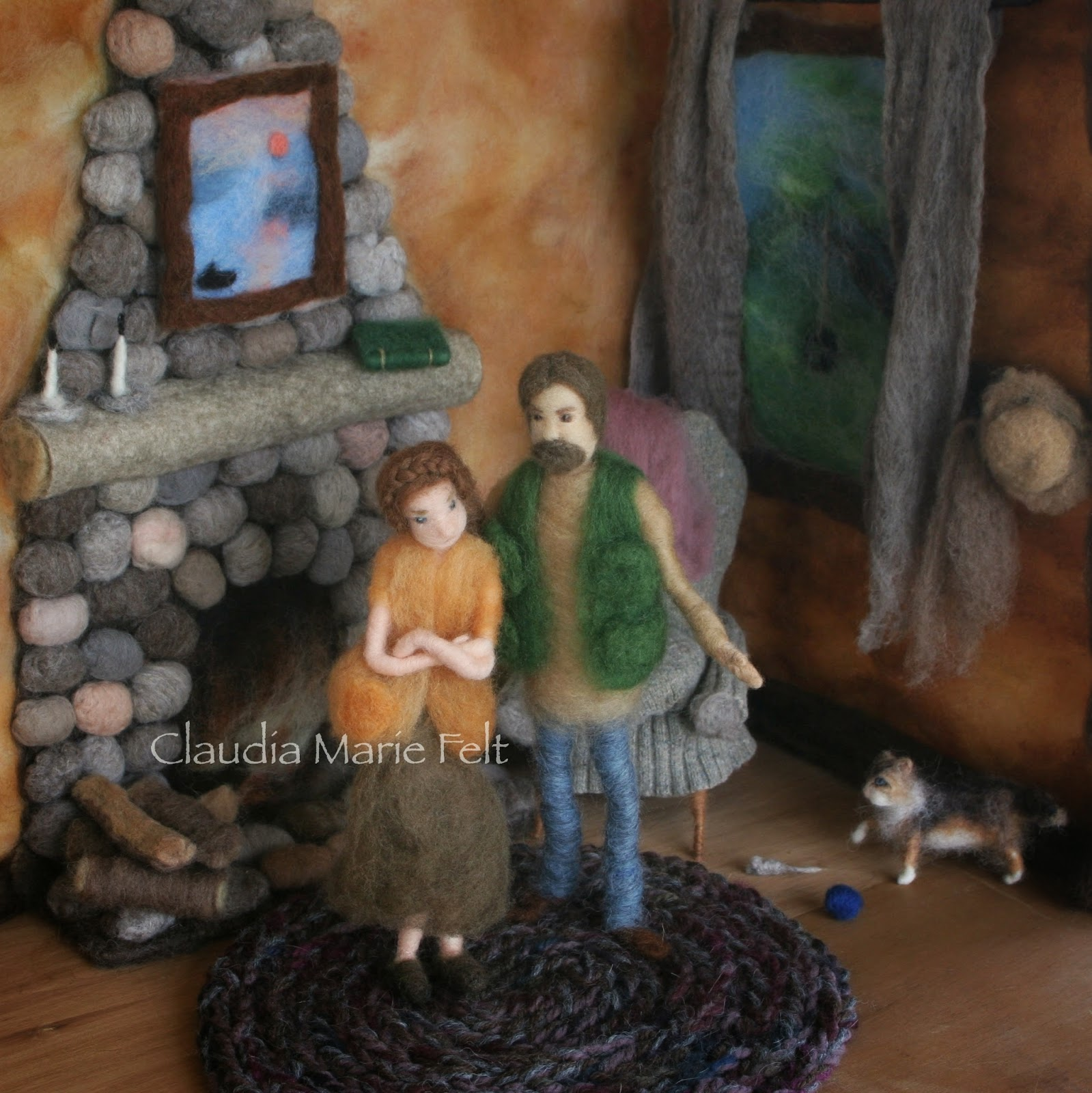 Hansel & Gretel fairy tale illustrated in fiber art