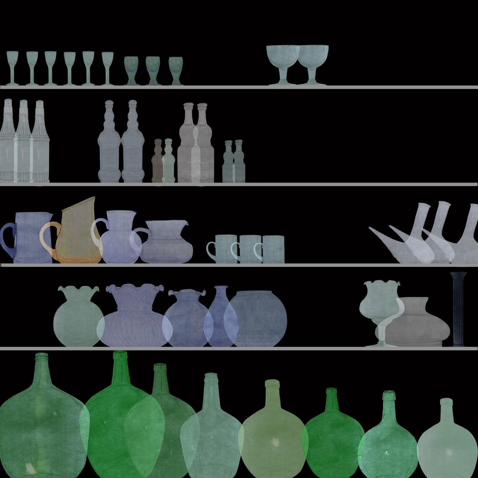 l`Olleria, industria del vidrio, coleccion,dibujo