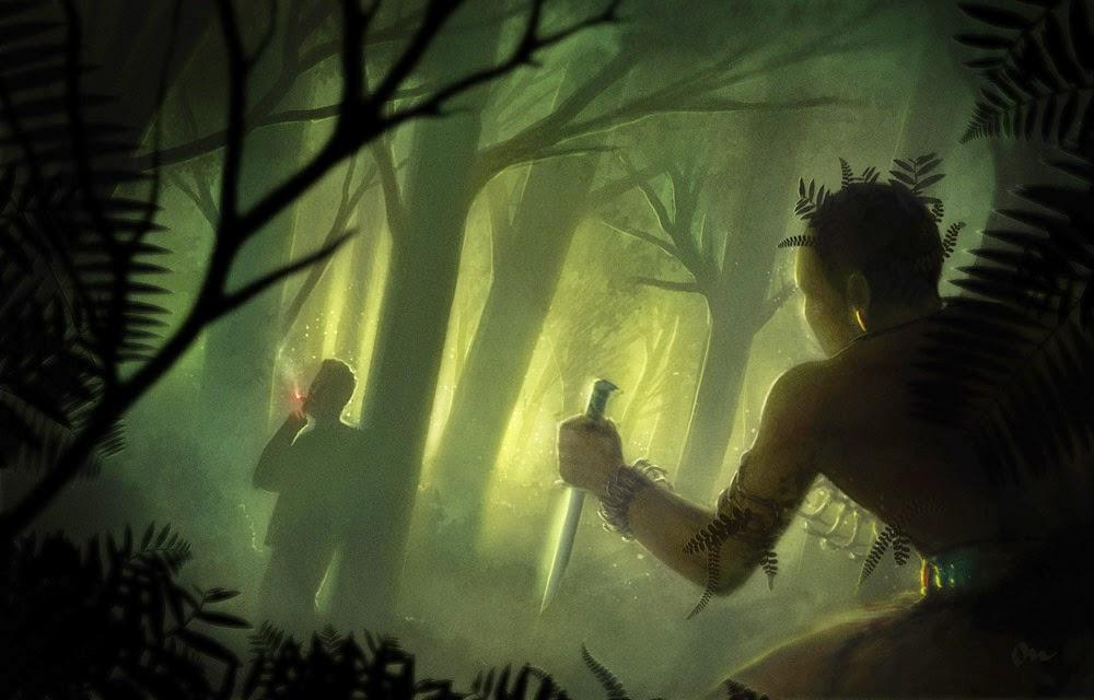 speed painting de Martin de Diego Sádaba représentant un assassin une dague à la main s'approchant d'un homme fumant une cigarette dans la forêt