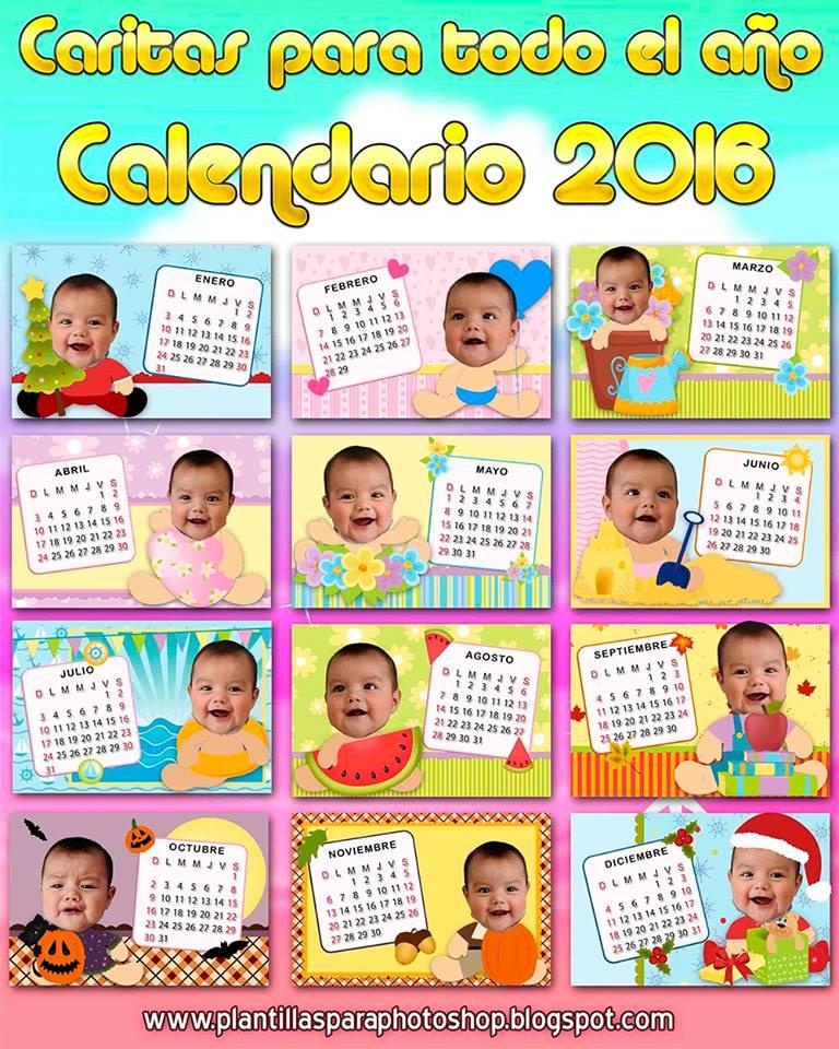Caritas de bebe todo el año 2016 - Calendarios gratis para Photoshop