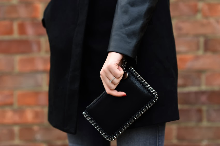 stella mccatney zip clutch and black coat