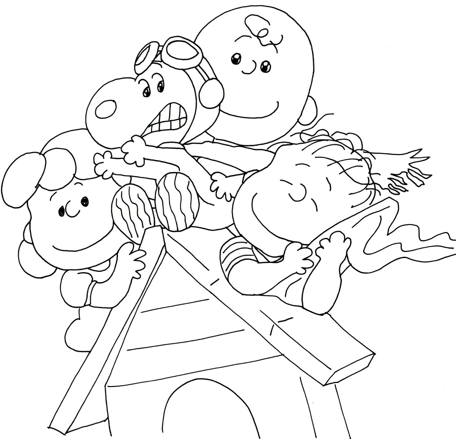 Free Printable Coloring Page For Charlie Brown And Snoopy Together With Lucy Linus On Top Of Snoopys House