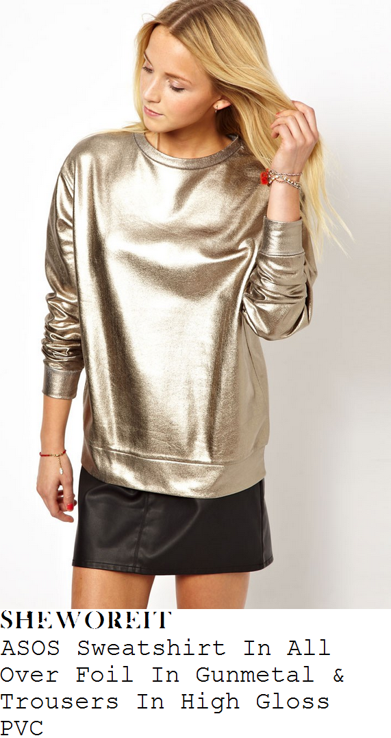 tamera-foster-silver-gunmetal-gold-metallic-sweatshirt-and-black-faux-patent-leather-pvc-trousers-x-factor