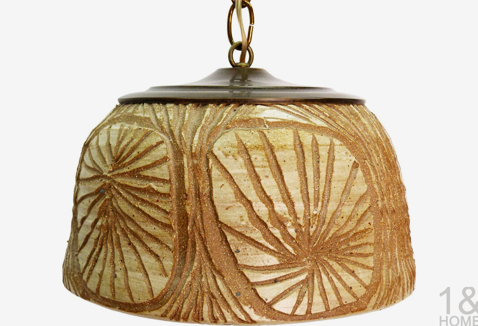 vintage sculptural earthenware ceramic glazed studio art pottery pendant ceiling light organic
