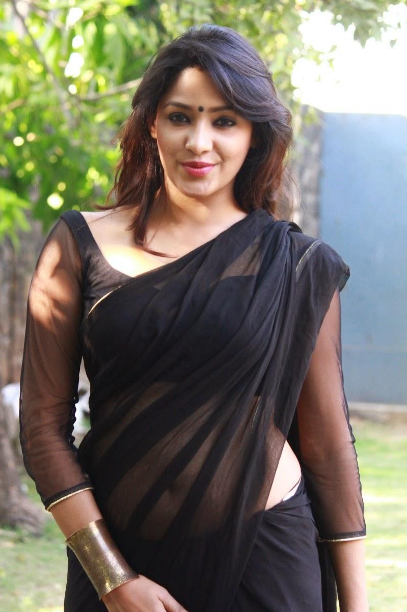 Actress Samruthika Latest Cute Hot Transparent Black Saree Navel Show Spicy Photos Gallery At Aayirathil Iruvar Movie Press Meet