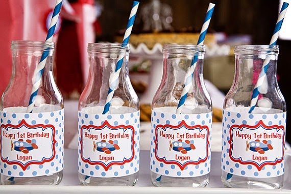 Airplane Themed Water Bottle Labels - Airplane Birthday Party Decorations in Blue and Red (12)