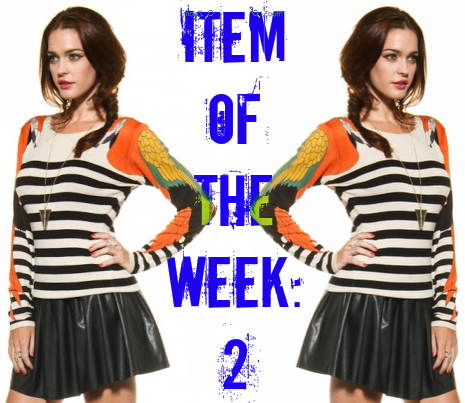 ITEM OF THE WEEK (2) PARROT STRIPED JUMPER WILD-SOCIETY