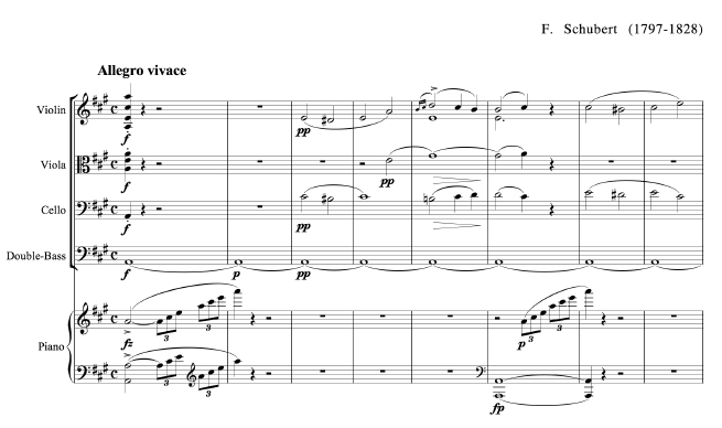 Trout Quintet Score With Instruments Notated In Standard Order Violin Viola Cello Double Bass And Piano