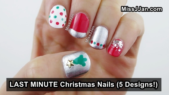 Christmas Is Literally Around The Corner In Todays Post Id Like To Show You 5 Quick And Easy Christmas Nail Designs You Can Do Without Using Any