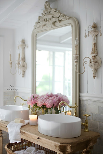 Elegant Every good vanity deserves a pair of oversized French style sconces don ut you think