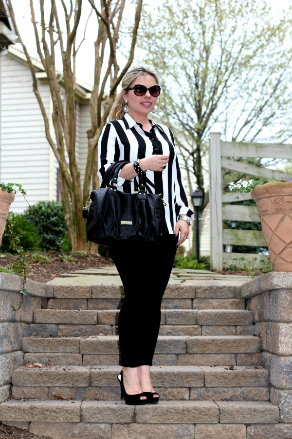 Tuxedo Leggings from Zara, Striped Chiffon Shirt from Forever 21, York Peep Toe Sling Back Pumps from Michael Kors, Angled Enamel Sunglasses from MARC by Marc Jacobs, David Yurman Silver and Black Onyx Ring, Earings from Forever 21, Bag from Nordstrom Rack