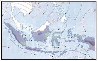 Peta arah angin muson tenggara (Sumber: Atlas Geografi Indonesia dan Dunia, Pustaka Ilmu)