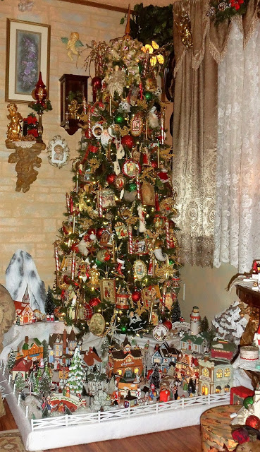 A Victorian Style Tree and Village, Christmas Home Tour, 2017