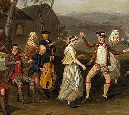 fiddle and cello play for Highland country dances 1700s