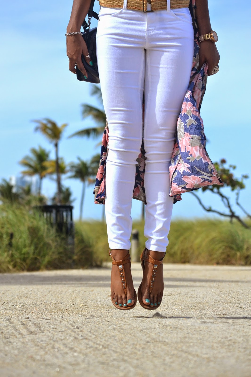 wearing jolt white denim and tan mossimo sandals