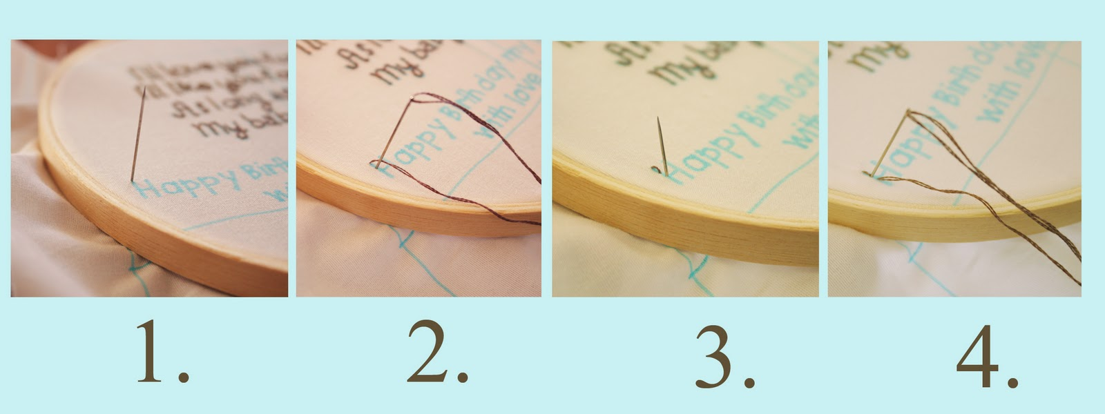 Put An Embroidery Hoop Around The Block Stitch The Text Using A Simple  Backstitch Below Is A Step By Step Of How To Do The Stitch Click To  Enlarge