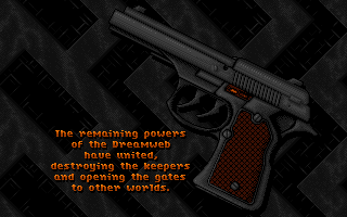 DreamWeb pistol image game over text