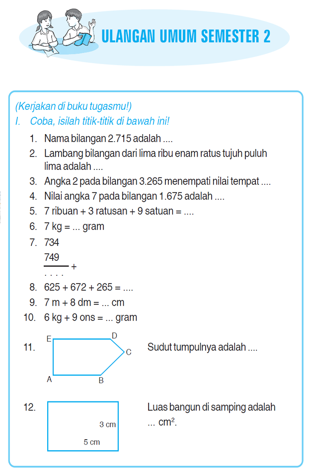 Soal Ulangan Umum Agama Semester 2 Kelas 5 Kumpulan Soal Matematika Soal Ulangan Umum Matematika