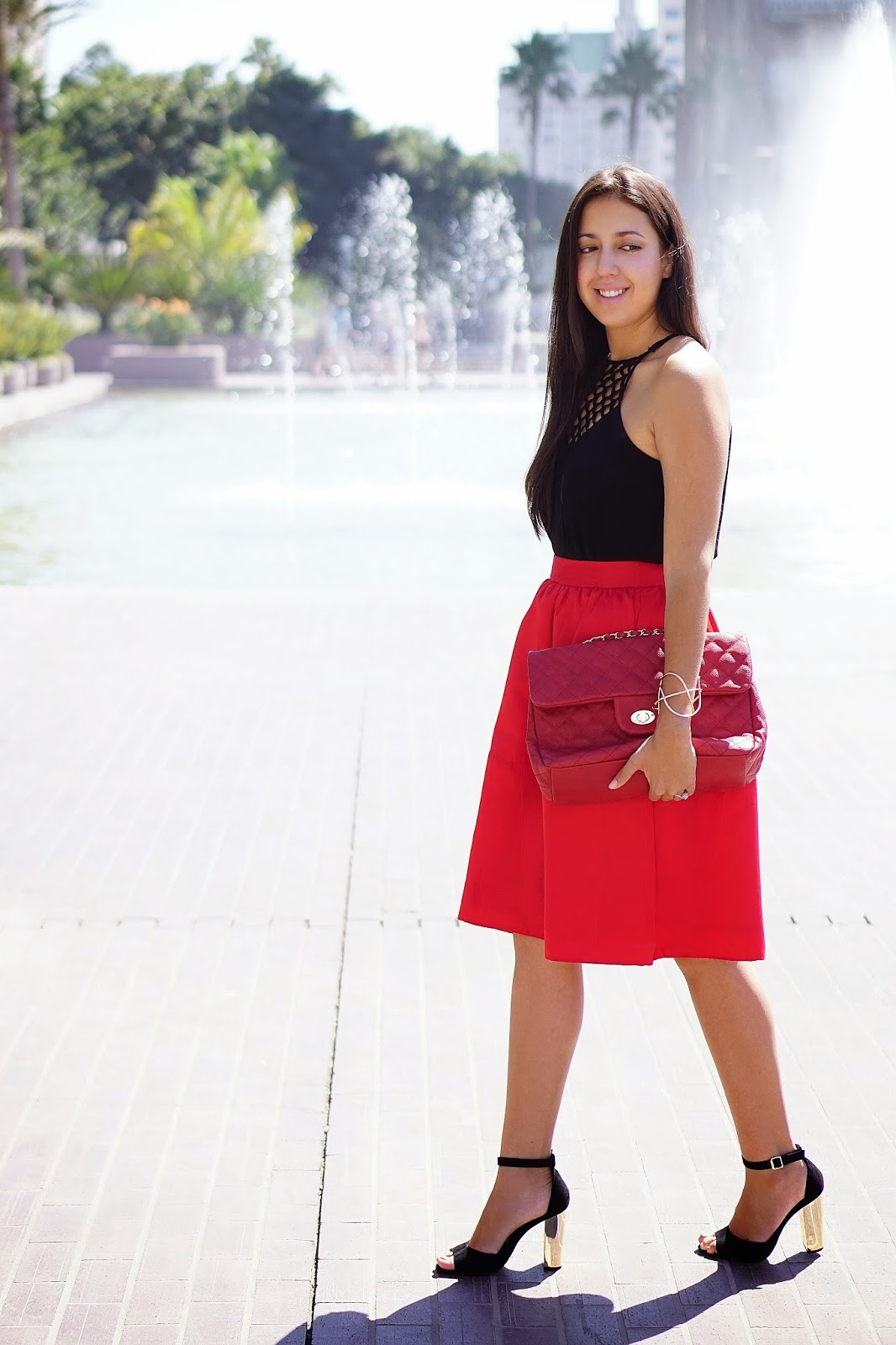 Foreign Exchange, Express High Waisted Full Midi Skirt, Shoemint Penny Heels, Prima Donna Red Quilted Purse, Windsor Gold Bracelet, Fall Fashion