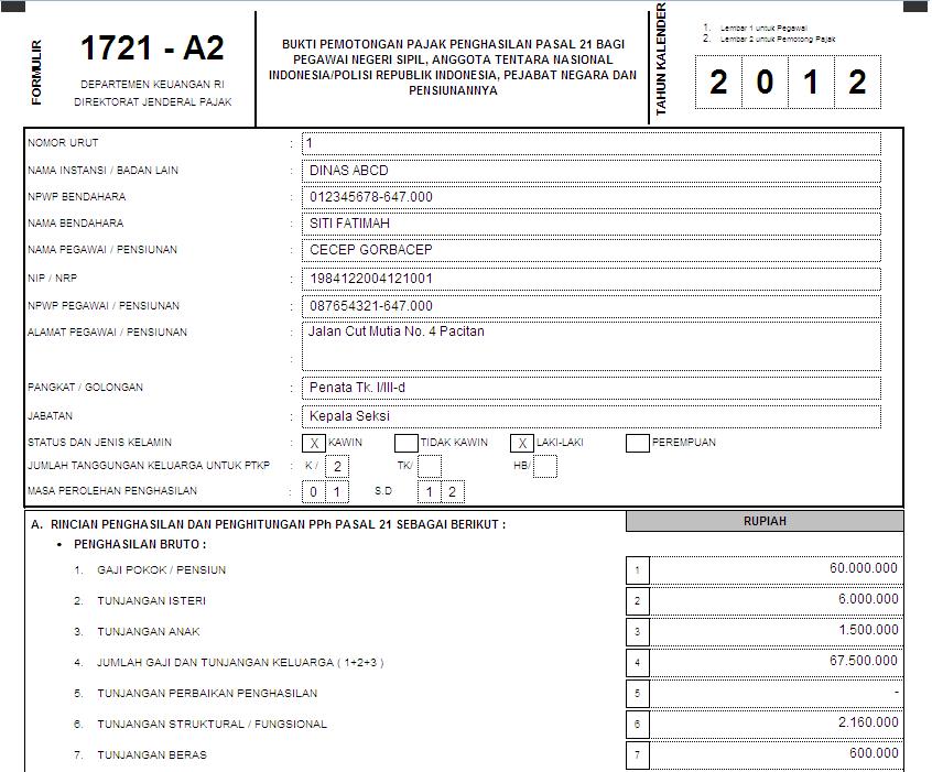 Formulir 1721-a2 yang diterima adalah sebagai berikut. (klik gambar