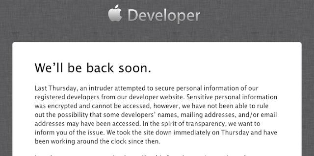 AppleのDeveloperサイトがハックされたようです