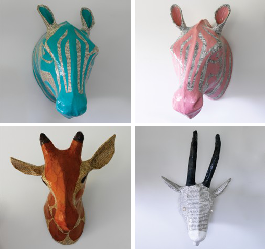 Cat ty wam pus kat to buy or diy papier m ch animal heads for Making paper mache animals