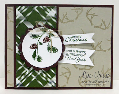 Stampin' Up! Wonderland stamp set. Handmade Christmas card with pine branches and antlers. Made by Lisa Young, Add Ink and Stamp