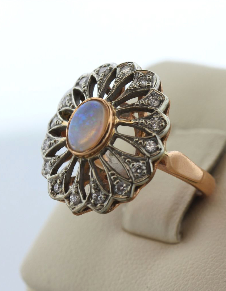 gold vintage engagement gallery in rose unique rings wedding b rare ring halo