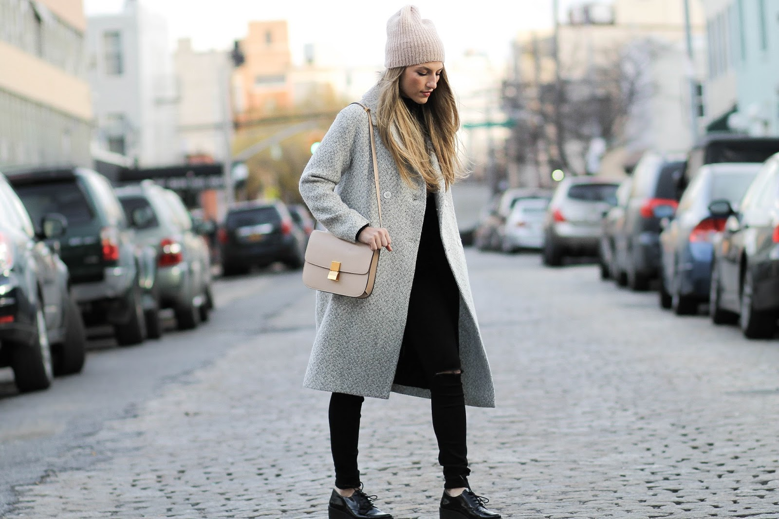 beige celine box bag, grey trench coat