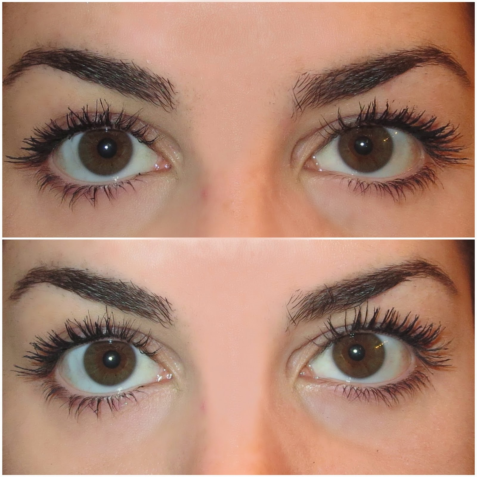 a picture of lashes with 2 coats of Benefit Roller Lash mascara and then recurled and brushed through