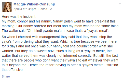 Yaya Meal is Trending after Fashion Model Designer Maggie Wilson-Consunji Post it on Facebook