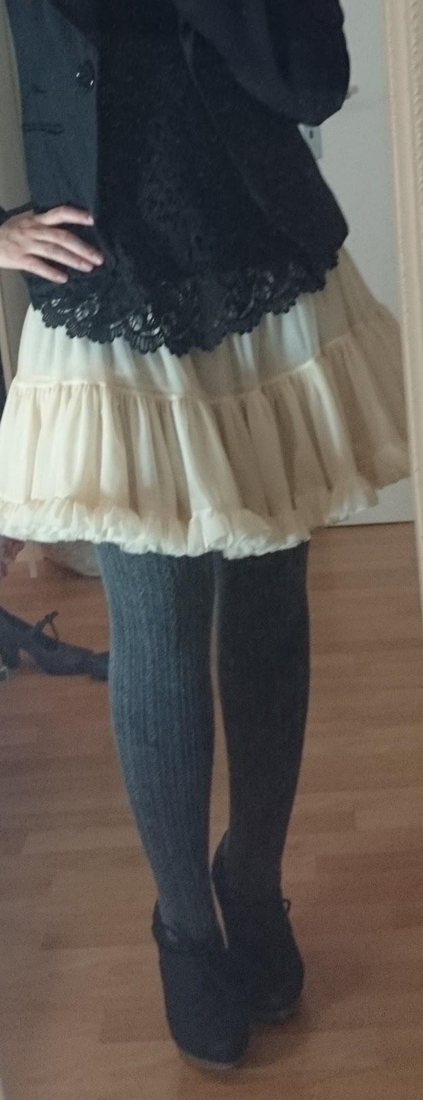 Schwarze Spitze und Petticoat