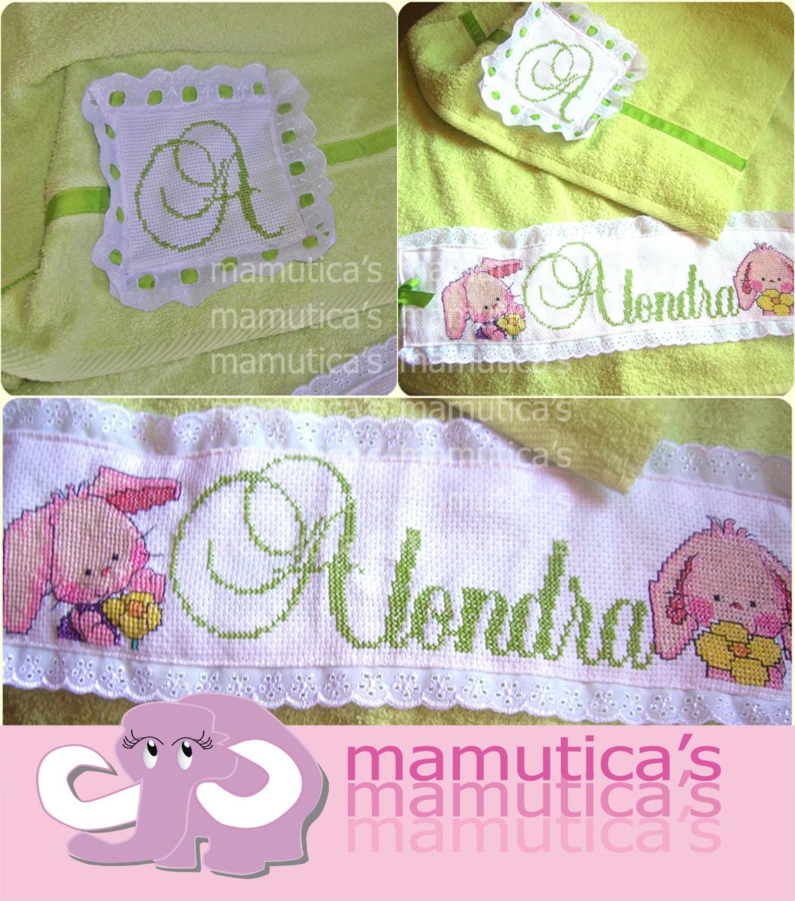 Mamutica 39 s toallas bordadas en punto de cruz - Toallas bano ...
