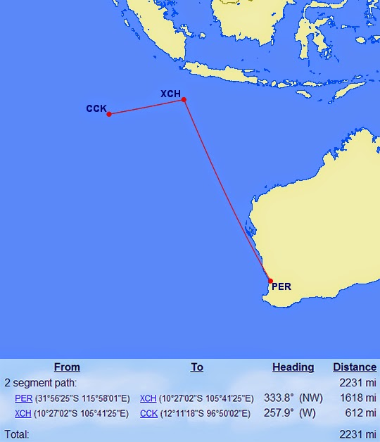 getting to christmas island and cocos islands on points