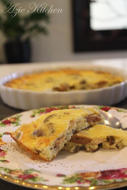 Sausage and Chicken Mushroom Crustless Quiche
