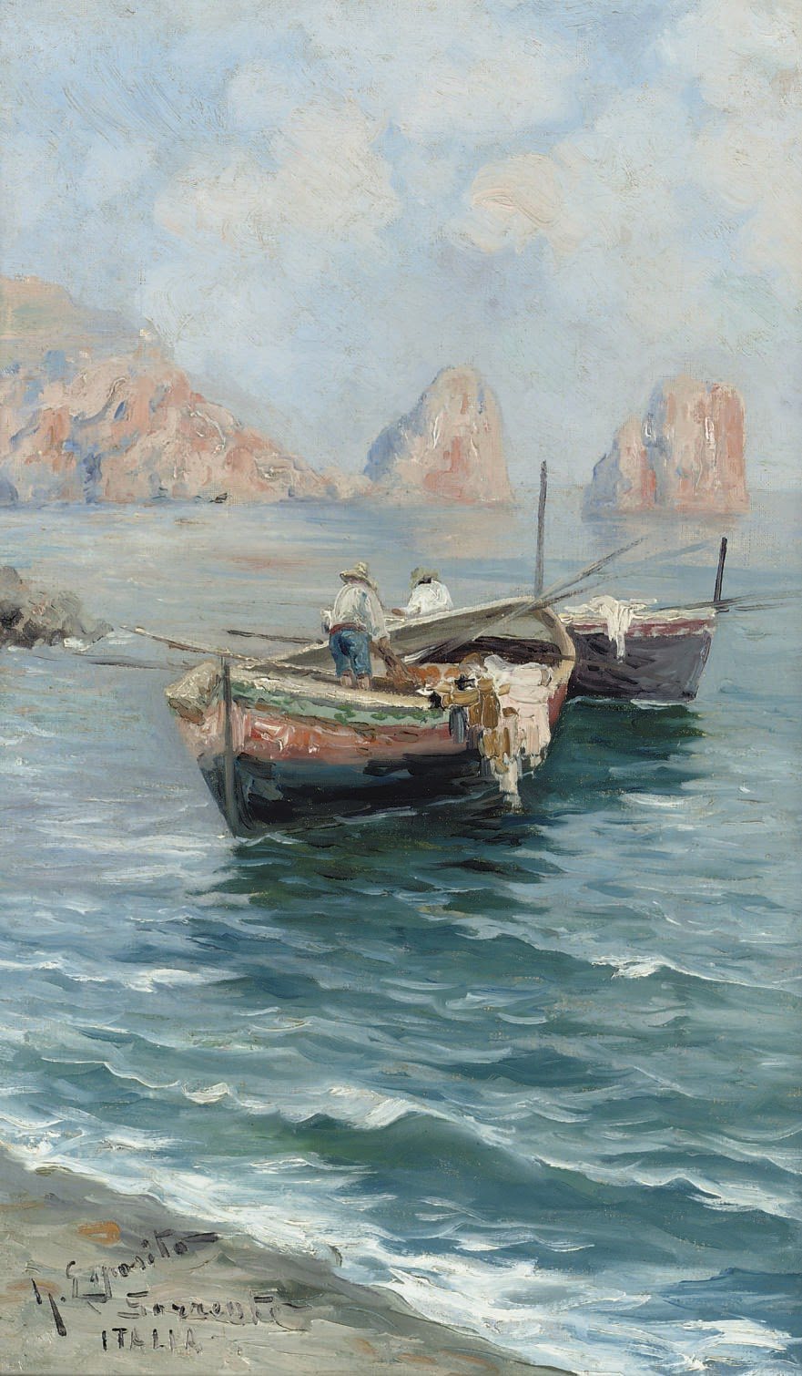 Gaetano Esposito Sorrento Italia fishing boats in the bay of Naples Christies