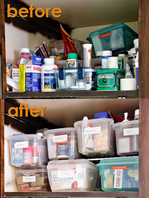 before and after medicine cabinet organization