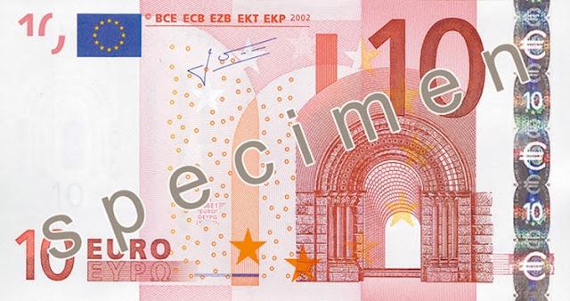 Fronte vecchia banconota 10€