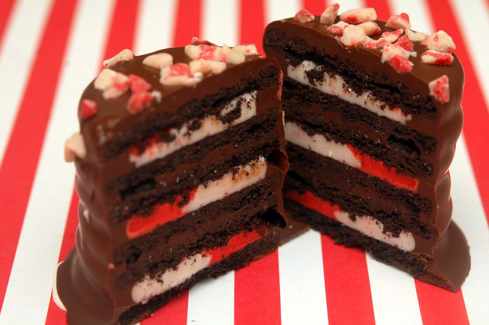 TRIPLE DECKER CANDY CANE OREOS DIPPED IN CHOCOLATE