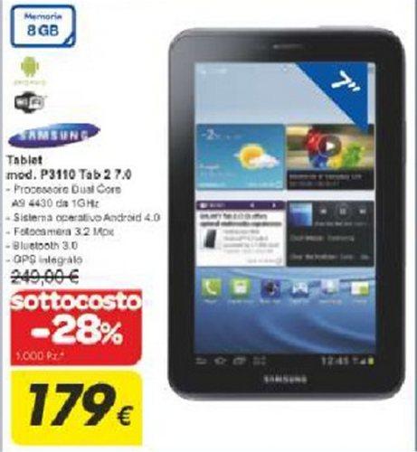 Carrefour presenta un buon volantino sottocosto non eclatante con in offerta anche il Galaxy Tab 2 7.0 a 179 euro