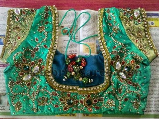 See Green Maggam Work Blouse