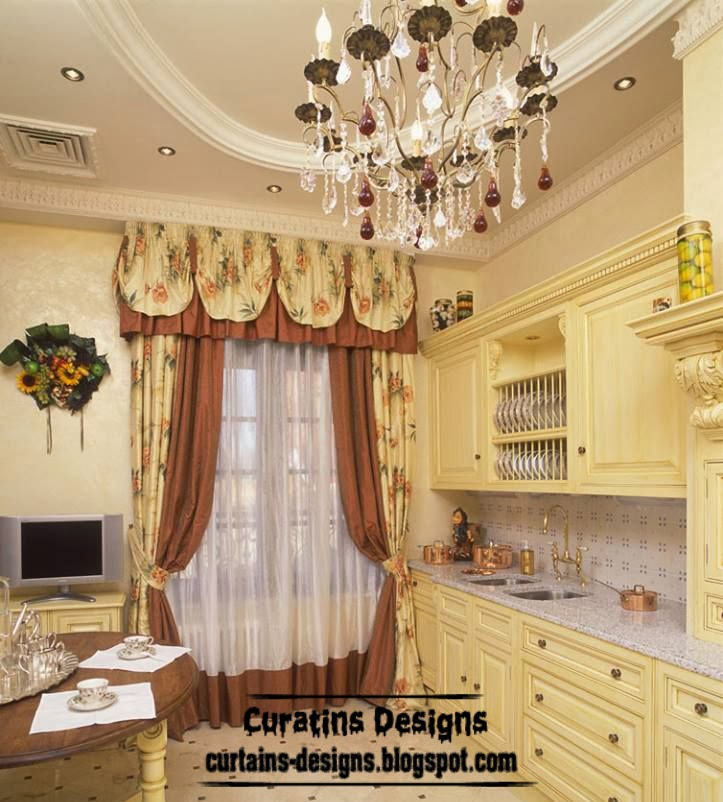 Classic curtains - accent color for kitchen, patterned curtain