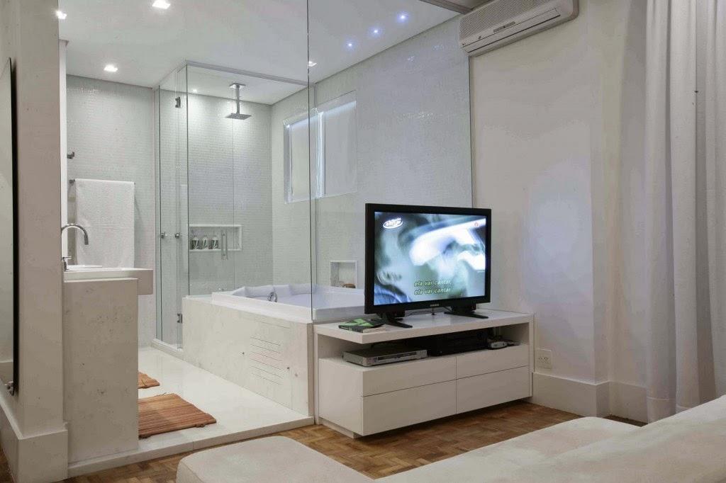 Banheiro Integrado ao Quarto! Veja modelos e dicas!  Decor Salteado  Blog d -> Closet Com Banheiro Integrado Pequeno