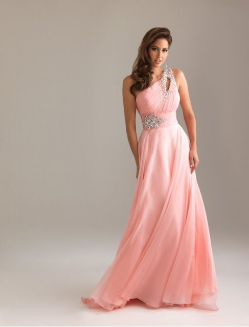 Chiffon One-Shoulder Strap A-Line Prom Dress with Rouched Keyhole Bodice
