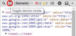 Chrome:デベロッパーツール 赤枠の〇で囲んだ部分が「Toggle device mode.」ボタン