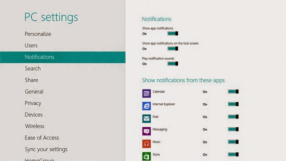 notification sous Windows 8