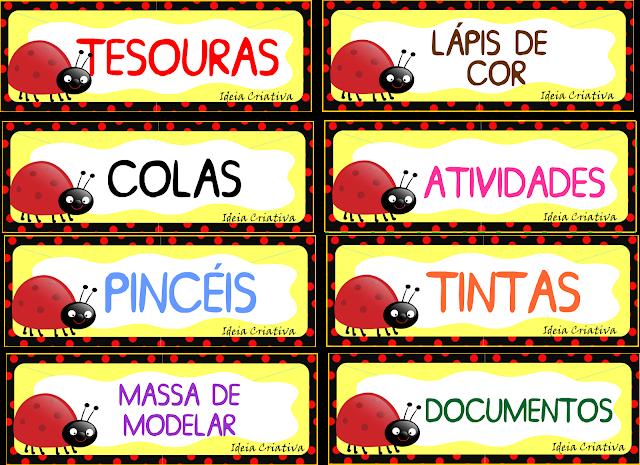 Etiquetas para organizar material Joaninhas