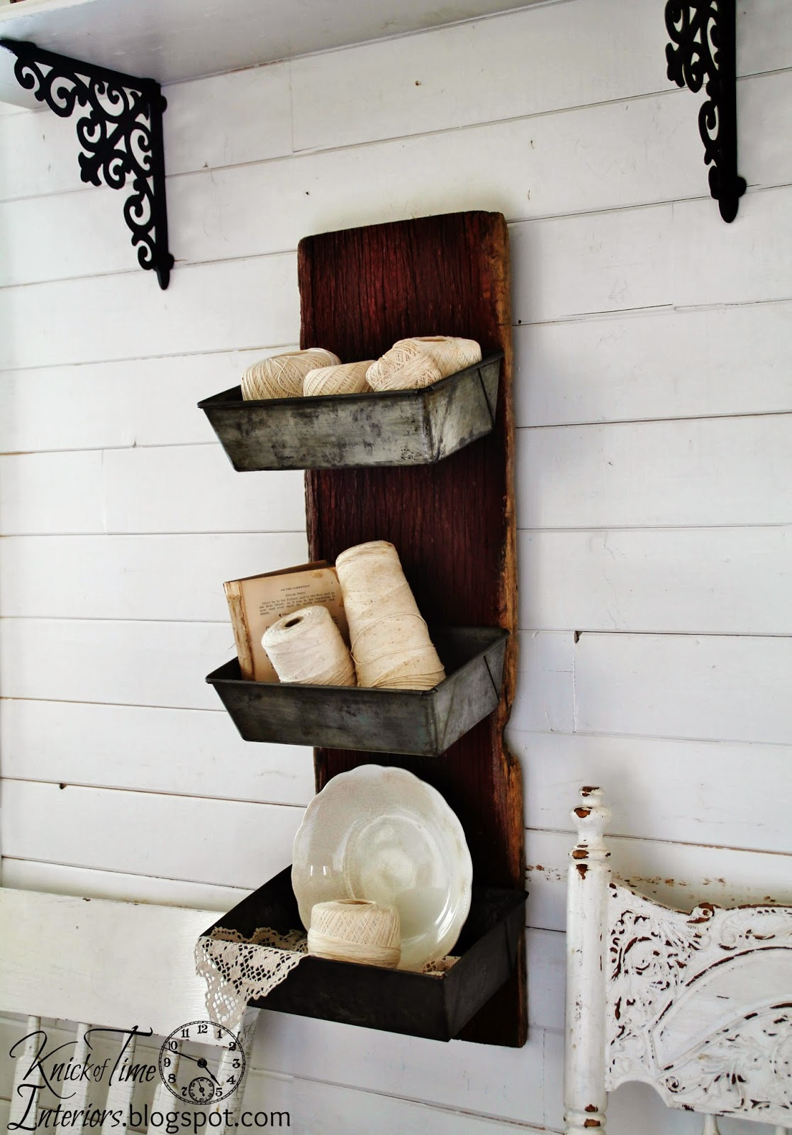 Repurposed-Barn-Wood-Antique-Bread-Pans-Wall-Bins-by Knick of Time
