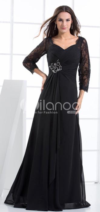 Elégant noir manches demi-gaine perles robe de soirée en mousseline de soie